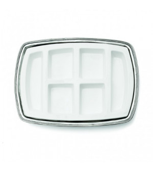 Pewter & ceramic rectangular appetizer dish cm 49x35,5