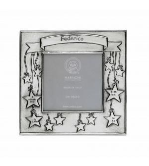 pewter birth picture frame cm 17x17 cm 10x10