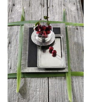 Pewter rectangular tray with slate liner cm 26x37