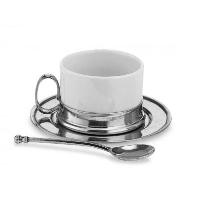 Teetasse mit Unterteller und Löffel