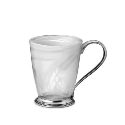 Weißglas & Zinn Henkelbecher h 11,5 cm ø 9,5