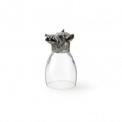 Zinn & Glas Becher, Wildschwein h 13 cm