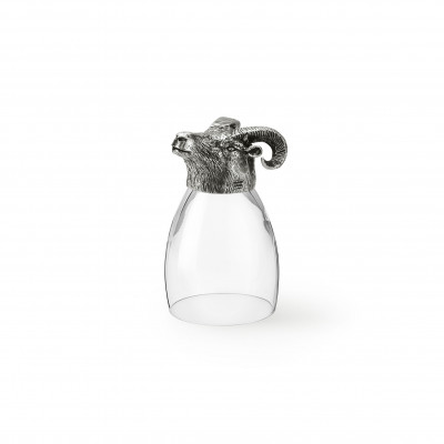 Zinn & Glas Becher, Mufflon h 13 cm