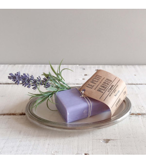 Oval soap dish with Lavender soap bar