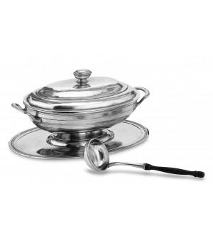 Zinn Suppenterrine oval mit Tablett und Suppenkelle