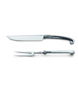 Tranchiergabel und Messer, Zinn und Edelstahl 30 cm