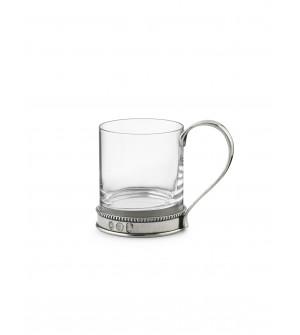 Henkelbecher, Zinn&Glas h 9,5 cm