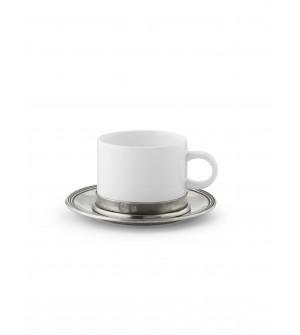 Keramik Teetasse mit Zinn Unterteller ø 14,5 cm