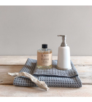 Pewter and Ceramic Soap Dispenser with Grapefruit Scented Liquid Soap Refill