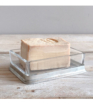 Glass & Pewter Soap Dish with a bar of Aleppo Soap